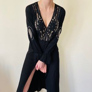 Audrey black lace boho maxi dress bikini coverup